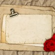 Old blank paper and two rose flowers — Stock Photo #40802305