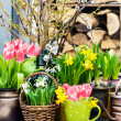 Home interior easter decoration with spring flowers — Stock Photo #40802457