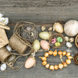 Vintage decoration with eggs and flower bulbs — Stock Photo #40802619