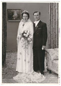 Vintage wedding photo. just married couple. bride and groom — Stock Photo