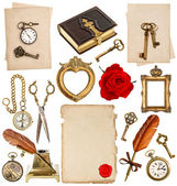 Antique clock, key, photo album, feather pen, inkwell, compass — Stockfoto