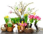 Lentebloemen met Pasen paashaas en eitjes decoratie — Stockfoto