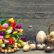 Easter decoration with eggs and tulip flowers — Stock Photo