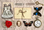Vintage things. nostalgic scrap booking background — Stock Photo