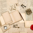 Old love letters, vintage accessories, red rose flower — Stok fotoğraf