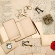 Old love letters, vintage accessories, red rose flower — Stok fotoğraf #41300767