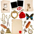 Antique clock, key, photo frame, feather pen, butterfly — Stock Photo #41301223