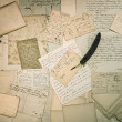 Stock Photo: Ephemera. old letters, handwritings, vintage postcards