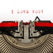 Old typewriter with sample text I LOVE YOU — Stock Photo