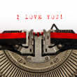 Stock Photo: Old typewriter with sample text I LOVE YOU