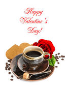 Coffee, red rose flower and heart cake on white — Foto Stock