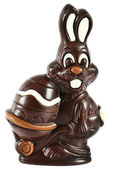 Chocolate easter bunny with egg — Stock Photo