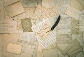 Ephemera. old letters, handwritings, vintage postcards — Stock Photo