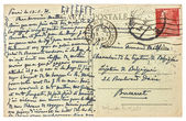 Old used handwritten postcard letter with text — Stock Photo