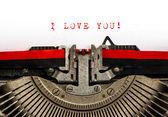 Oude schrijfmachine met voorbeeldtekst ik hou van je — Stockfoto