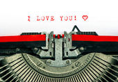 Typewriter with sample text I LOVE YOU and heart — Zdjęcie stockowe