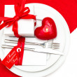 Valentines Day table decoration in red and white — Stock Photo
