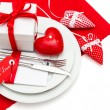 Romantic Valentines Day candle light dinner — Stock Photo