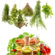 Olive oil with fresh italian pasta, herbs and tomatoes — Stock Photo