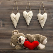 Teddy Bear with red heart. Valentines Day — Stock Photo