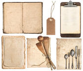 Kitchen utensils, old cookbook, pages and clipboard — Stock Photo