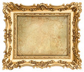 Golden frame with canvas for your picture, photo, image — Stock Photo