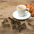 Coffee with croissant and romatic decoration — Stock Photo