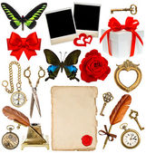 Collection of various objects for scrapbook — Stock Photo