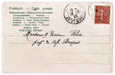 Old handwritten postcard letter with stamp and text — Stockfoto