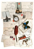 Old letters, accessories and postcards. travel concept — Stock Photo