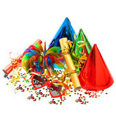 Confetti, garlands, streamer, cracker, party glasses — Foto de Stock