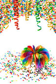 Garlands, streamer and confetti. carnival party decoration — Stock Photo