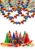 Garlands, streamer, party hats and confetti — Stock Photo