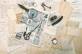 Antique accessories, old letters and postcards. ephemera — Stock Photo
