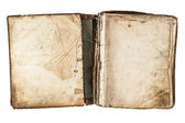 Open antique book with grungy pages — Stock Photo