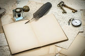 Antique accessories, letters, inkwell and ink pen — Stock Photo