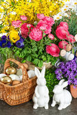 Easter home interior decoration with spring flowers — Stockfoto