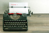 Typewriter with white paper page — Stock Photo