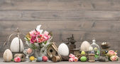 Easter. home interior decoration with pink tulips — Stock Photo