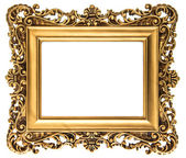 Vintage golden picture frame isolated on white — Stock Photo