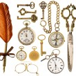 Antique accessories. antique keys, clock, scissors, compass — Zdjęcie stockowe #43506173