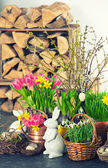 Easter decoration with bunny, eggs and flowers — Stock Photo