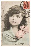 Vintage portrait of beautiful little girl — Stock Photo