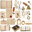 Antique clock, key, papers, books, frames — Stock Photo #44621317