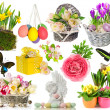Set of spring flowers, easter eggs, butterfly — Stock Photo #44621705