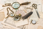 Antique accessories, old letters and postcards — Stock Photo