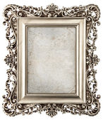 Baroque style silver picture frame with canvas — Stock Photo