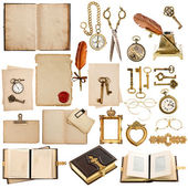 Antique clock, key, papers, books, frames — Stock Photo