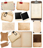 Vintage papers, postcards, frames, clipboard, tags — Stock Photo