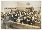 Antique portrait of classmates. vintage photo — Stock Photo